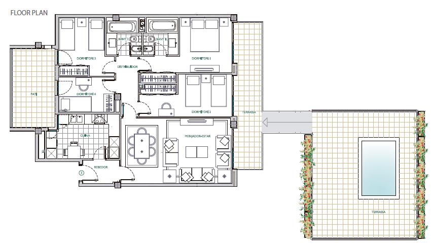 公寓面积从105到120平方米.